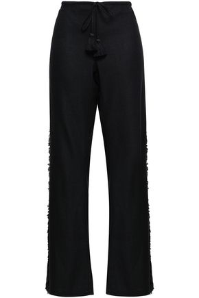 FIGUE Ipanema fringed silk-blend wide-leg pants