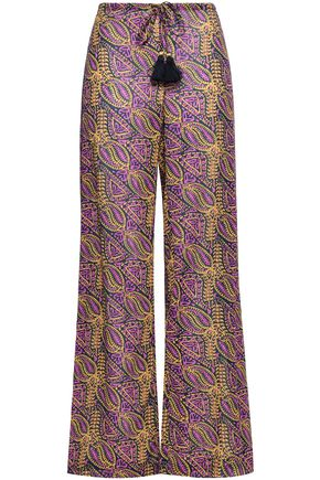 FIGUE Estela tasseled cotton-blend gauze wide-leg pants