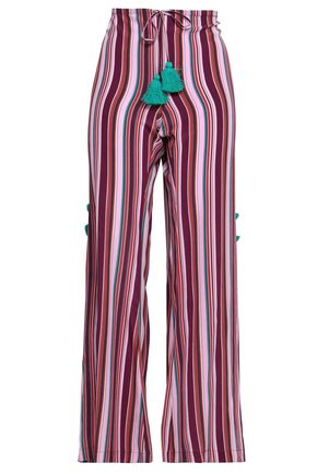 FIGUE Ipanema tasseled striped silk wide-leg pants