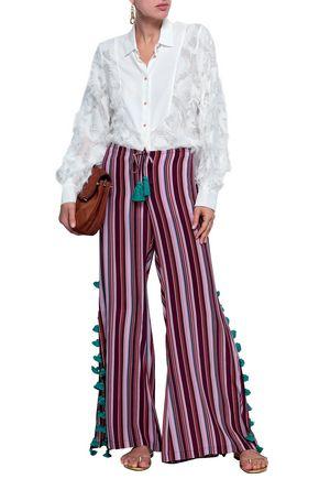 FIGUE Ipanema tasseled striped silk wide-leg pants