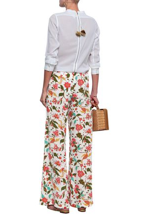 FIGUE Ipanema floral-print silk crepe de chine wide-leg pants