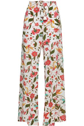 FIGUE Ipanema floral-print silk crepe de chine wide-leg pants