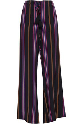 FIGUE Simone tasseled striped silk wide-leg pants