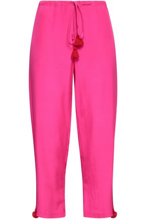 FIGUE Tasseled silk crepe de chine straight-leg pants