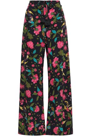 FIGUE Ipanema floral-print silk wide-leg pants