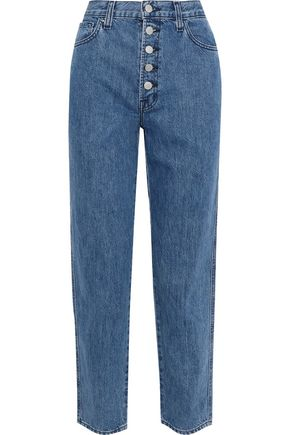 J BRAND Heather cropped mid-rise straight-leg jeans