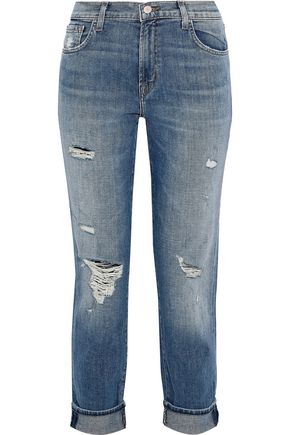 J BRAND Johnny cropped distressed high-rise straight-leg jeans