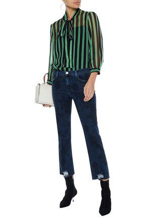 J BRAND Selena distressed printed mid-rise straight-leg jeans