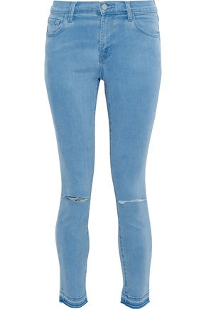 J BRAND Alana distressed brushed mid-rise skinny jeans