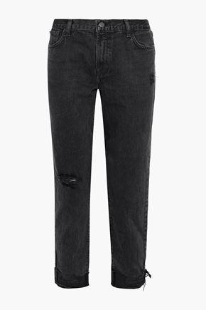 J BRAND Johnny distressed mid-rise straight-leg jeans