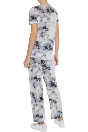 MAJESTIC FILATURES Tie-front tie-dyed linen-jersey track pants