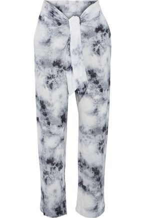 MAJESTIC FILATURES Tie-front tie-dyed linen-jersey track pants