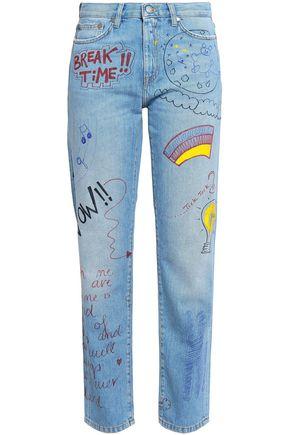 MIRA MIKATI Painted high-rise straight-leg jeans
