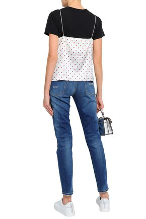 MIRA MIKATI Embroidered faded high-rise slim-leg jeans