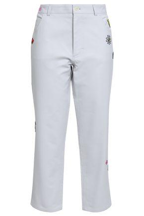MIRA MIKATI Embroidered cotton straight-leg pants