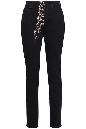 ROCKINS Lace-up high-rise slim-leg jeans