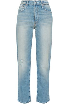 MOTHER Faded high-rise straight-leg jeans