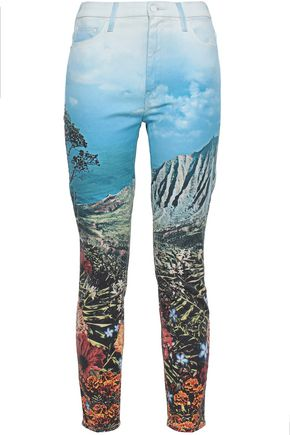 MOTHER Printed high-rise slim-leg jeans