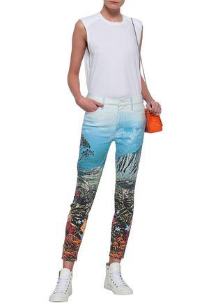 MOTHER Printed high-rise slim-leg jeans