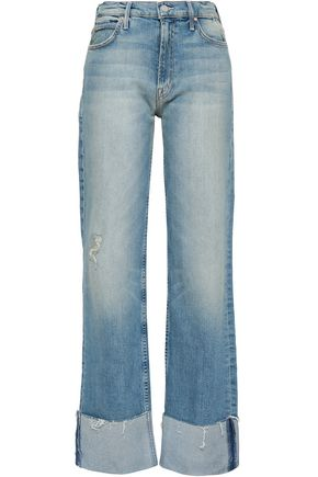 MOTHER Distressed faded high-rise wide-leg jeans