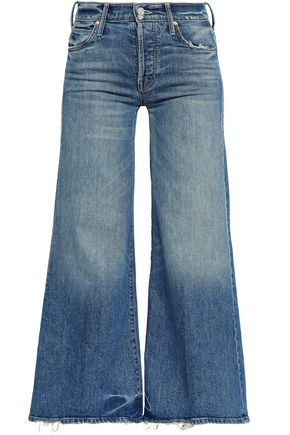 MOTHER Distressed high-rise flared jeans