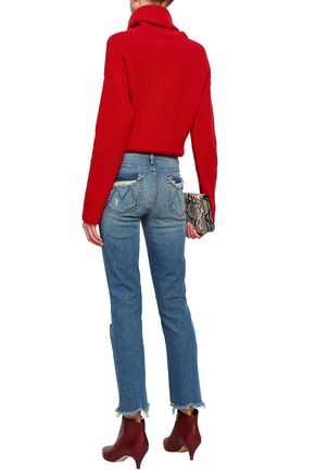 MOTHER Distressed faded mid-rise slim-leg jeans