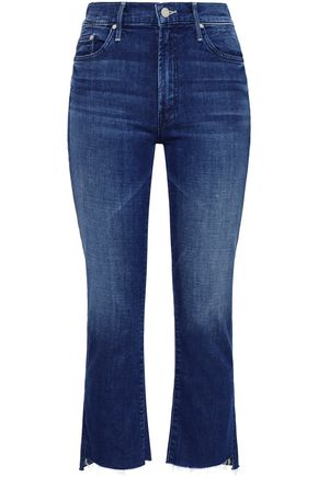 MOTHER Cropped faded high-rise slim-leg jeans