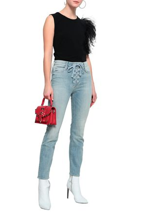 MOTHER Lace-up faded high-rise slim-leg jeans