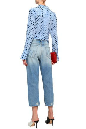 MOTHER Cropped distressed boyfriend jeans
