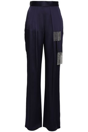 CHRISTOPHER KANE Crystal-embellished satin wide-leg pants