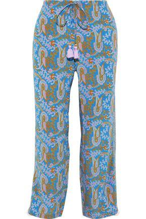 FIGUE Goa embellished printed silk crepe de chine straight-leg pants