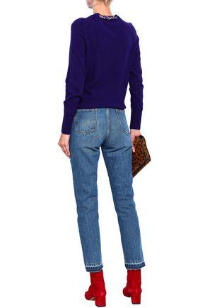 SANDRO Jean Rozabel frayed high-rise straight-leg pants