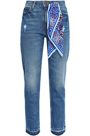 SANDRO Jean Rozabel frayed high-rise straight-leg pants