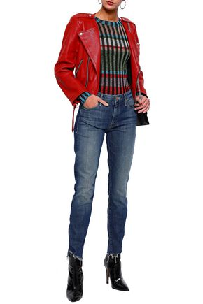 MOTHER Frayed high-rise slim-leg jeans