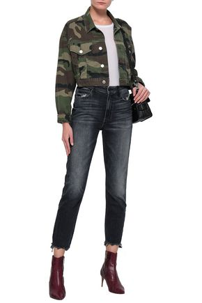 MOTHER Distressed faded high-rise slim-leg jeans