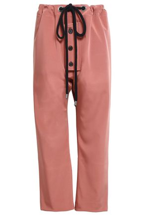 MARNI Button-detailed satin-crepe straight-leg pants