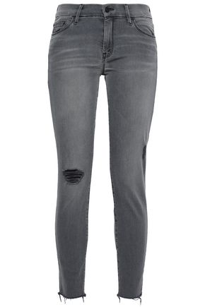 MOTHER Distressed faded mid-rise skinny jeans