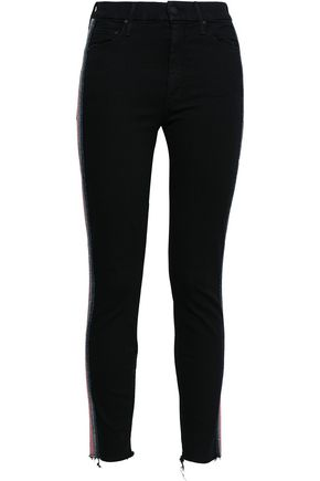 MOTHER Metallic-trimmed high-rise skinny jeans