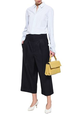 MARNI Cropped wool and silk-blend wide-leg pants