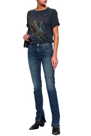 MOTHER Faded mid-rise straight-leg jeans