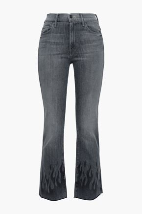 MOTHER Cropped printed high-rise bootcut jeans