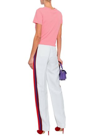 SANDRO Striped woven wide-leg pants