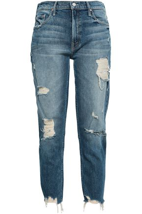 MOTHER Distressed faded boyfriend jeans