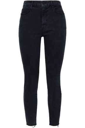 MOTHER Frayed mid-rise skinny jeans