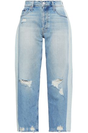 MOTHER Distressed cropped straight-leg jeans
