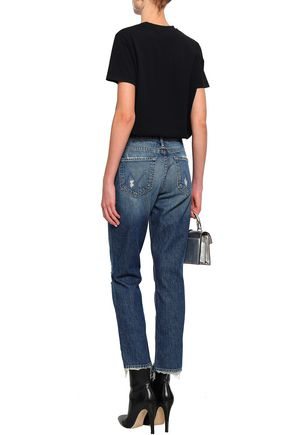 MOTHER Distressed faded high-rise straight-leg jeans