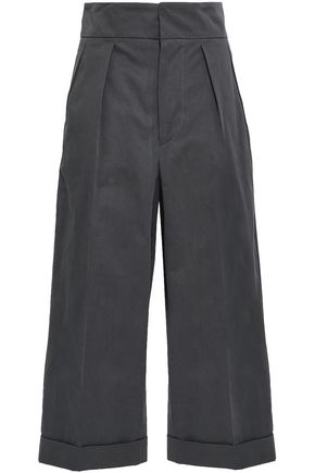 MARNI Cropped cotton and wool-blend wide-leg pants