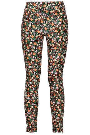 GANNI Floral-print stretch-knit leggings