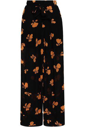 GANNI Fairfax floral-print georgette wide-leg pants