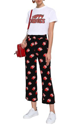 GANNI Harley floral-print washed-crepe wide-leg pants